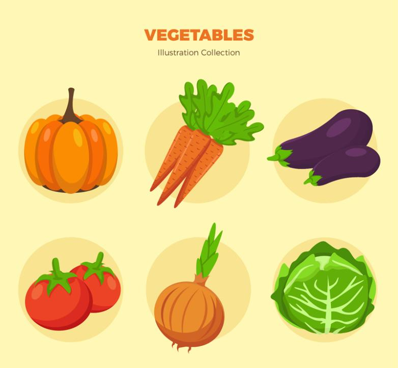 Six Common Coloured Vegetables Vector