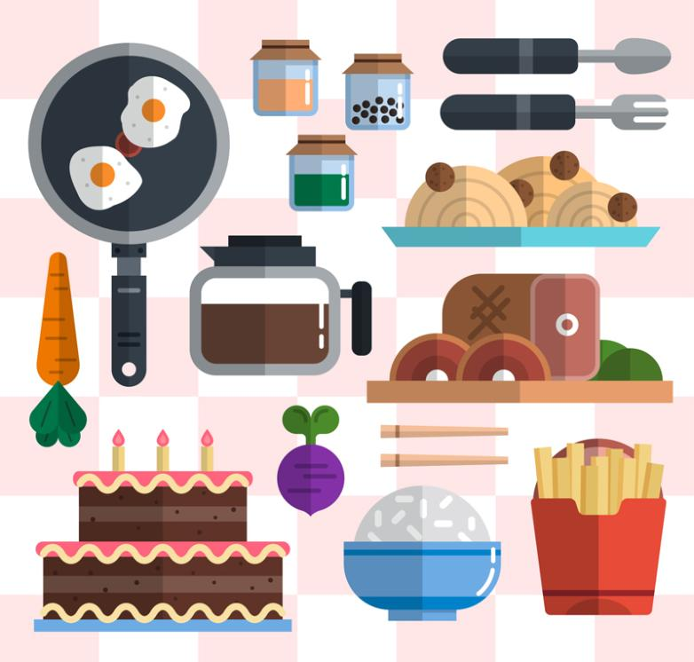 15 Flattening Food And Kitchen Utensils And Appliances Vector