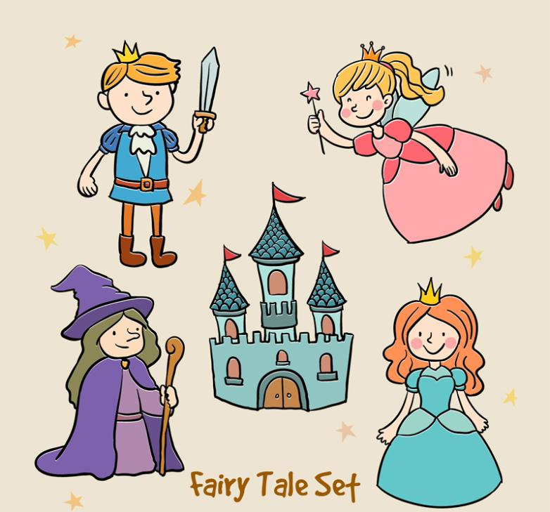 Five Fairy Prince Castle Fairy Tale Elements Coloured Drawing Or Pattern Vector
