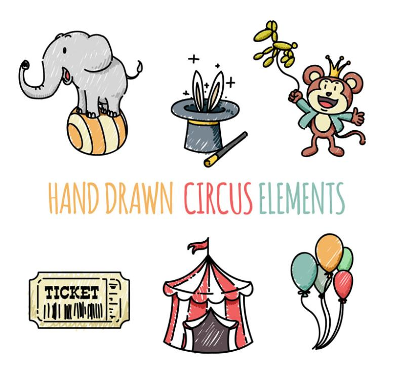 Element Six Hand-painted Circus Vector