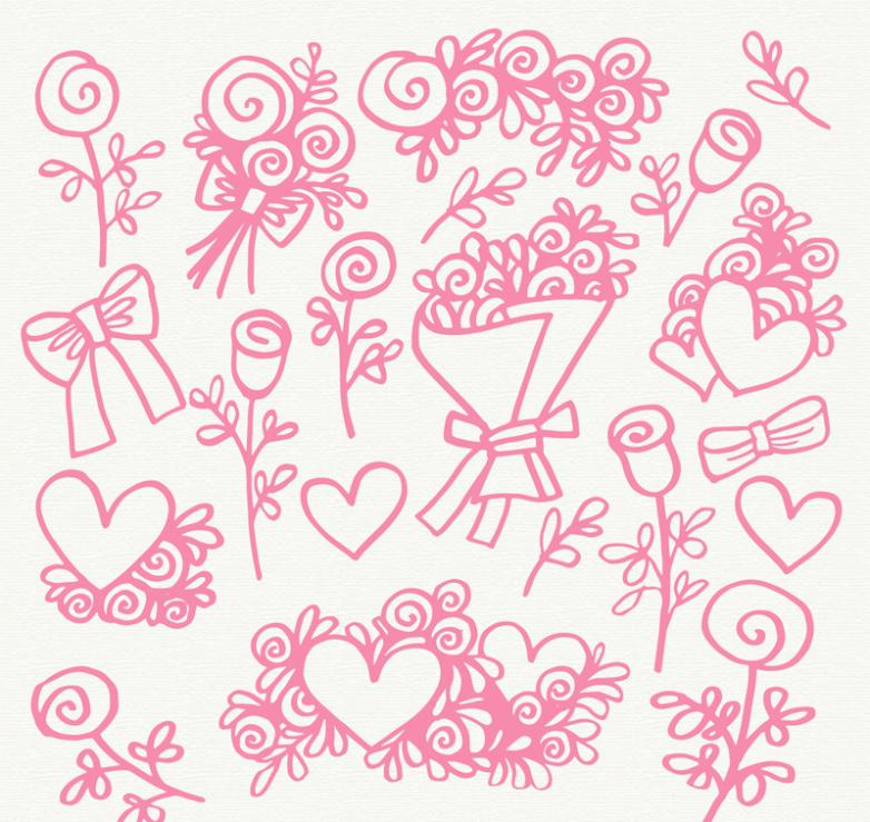 16 Elements Pink Flowers And Love Vector