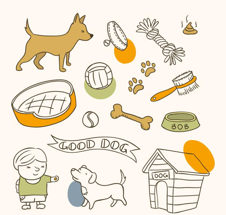 16 Pet Dogs And Pet Supplies Vector