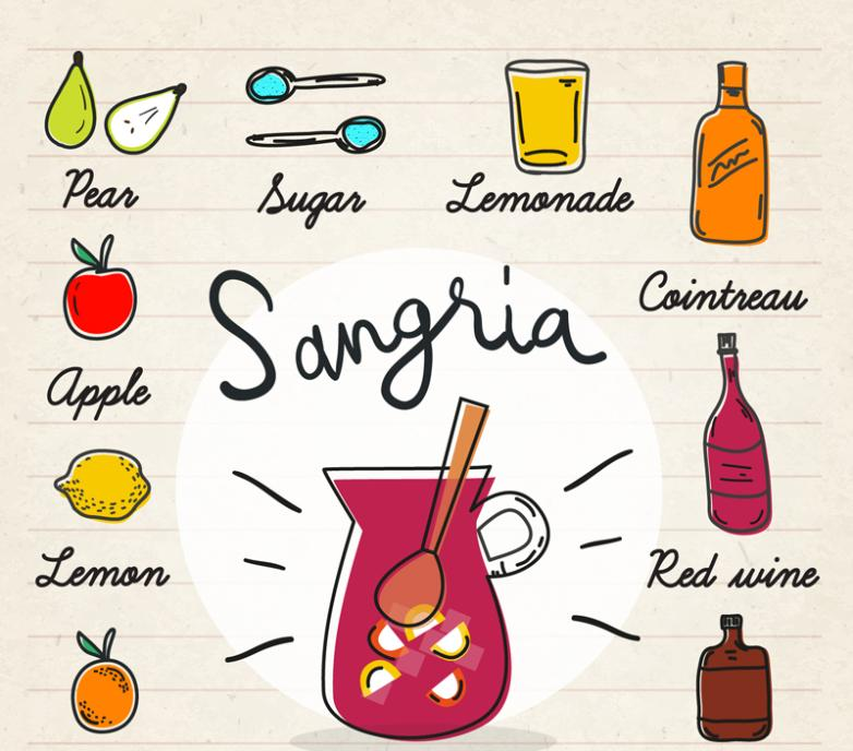Coloured Drawing Or Pattern Sangria Recipes Vector