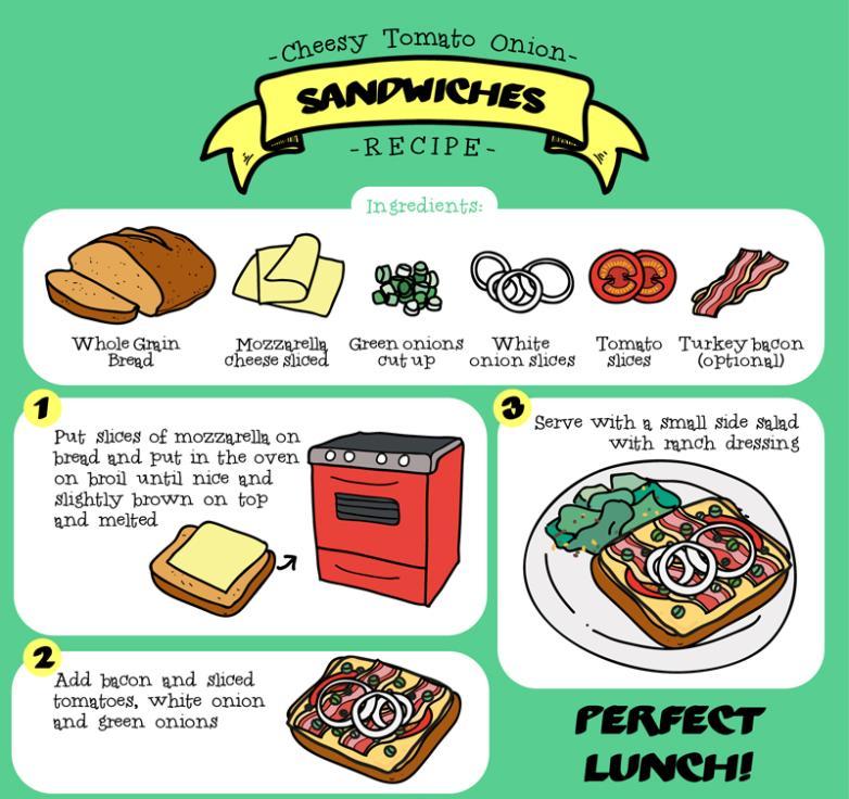 Tomato Onion Cheese Sandwich Recipes Vector