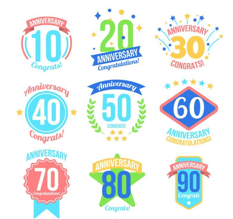 9 Color Anniversary Label Designs Vector