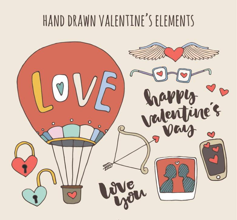 10 Hand-painted Elements Valentine's Day Vector