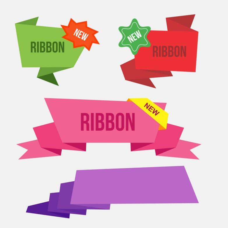 4 Color Folding Paper Ribbon Vector