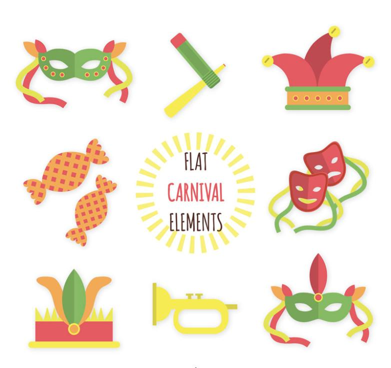 Eight Carnival Props Icon Vector
