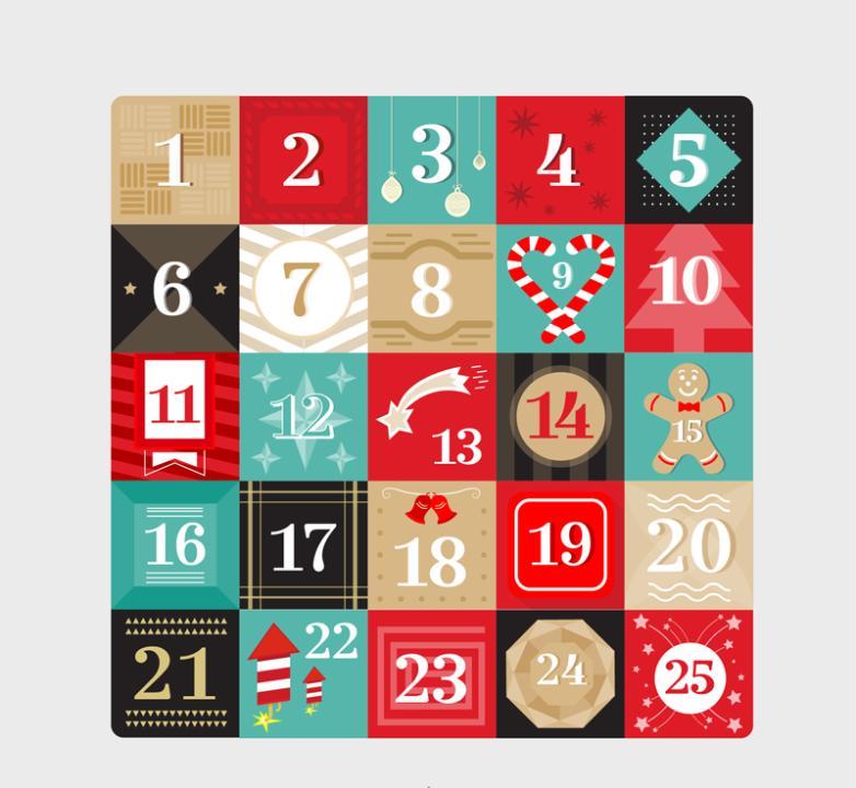 Color Box Design On Christmas Calendar Vector