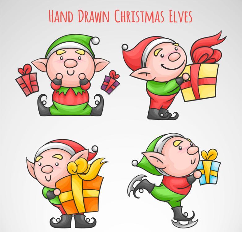 4 Cartoon Christmas Gift Box Elves Vector