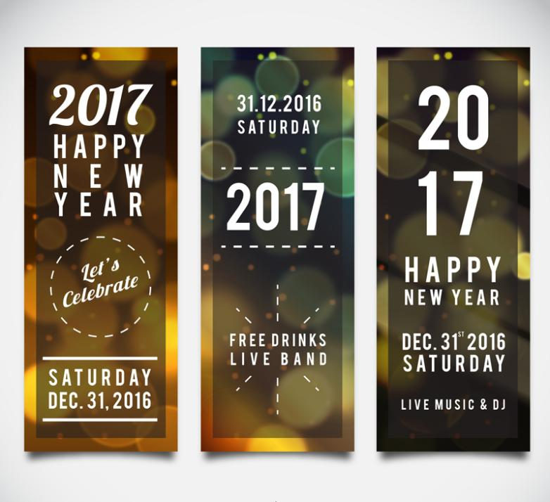 Three 2017 Dream Halo Banner In The New Year Vector