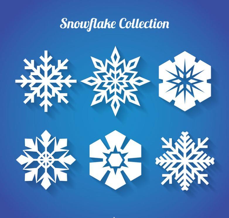 Six Elegant White Snowflake Paper-cut Vector