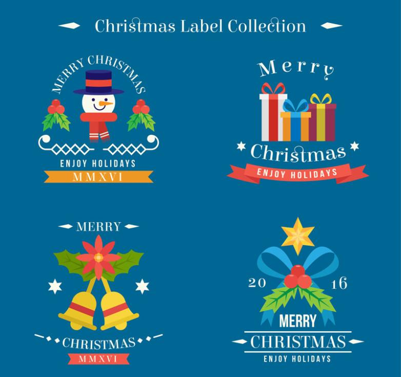 4 Color Christmas Tags Vector