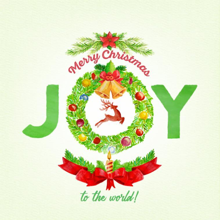 Green Joy Christmas Wreath Greeting Card Vector