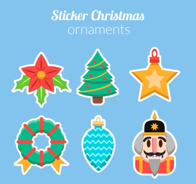 Six Creative Elements Christmas Stickers Vector