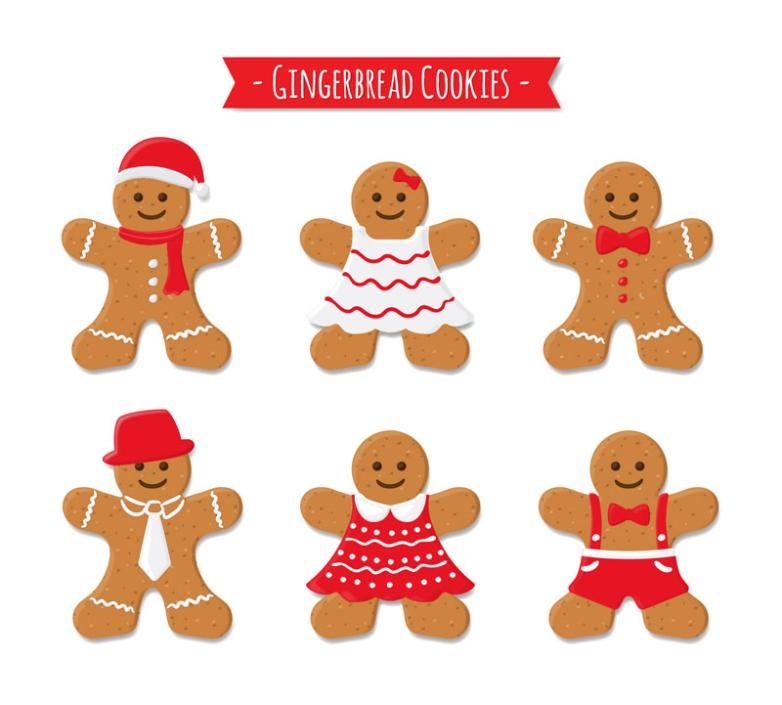 Six Lovely Christmas Gingerbread Man Vector