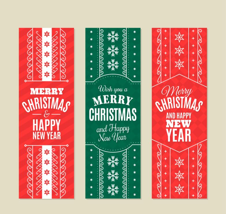 Three Color Decorative Pattern Banner Christmas Vector