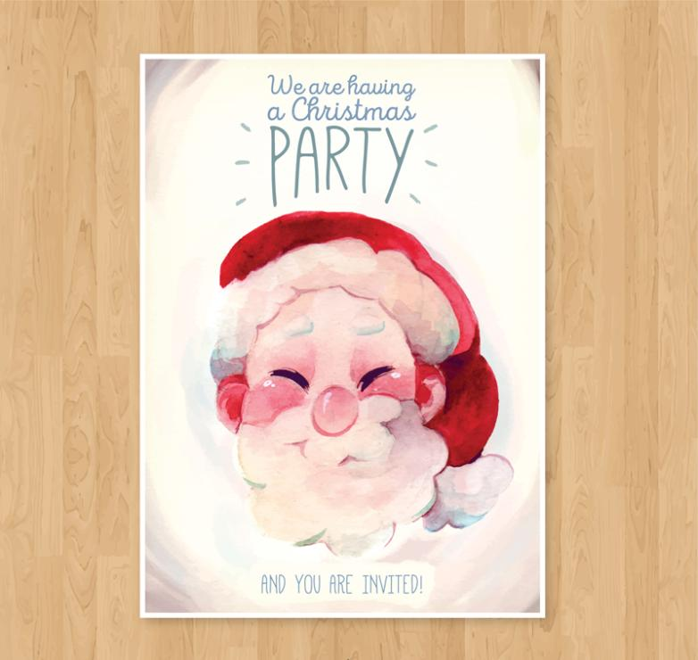 Santa Head Card Water Coloured Drawing Or Pattern Vector
