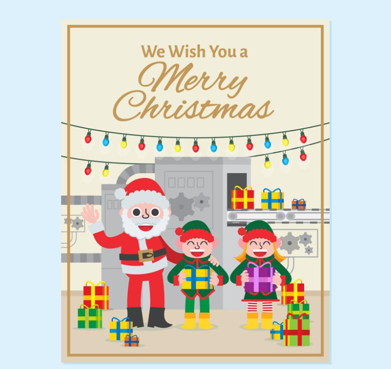 Cartoon Santa Claus Cards And Children Vector
