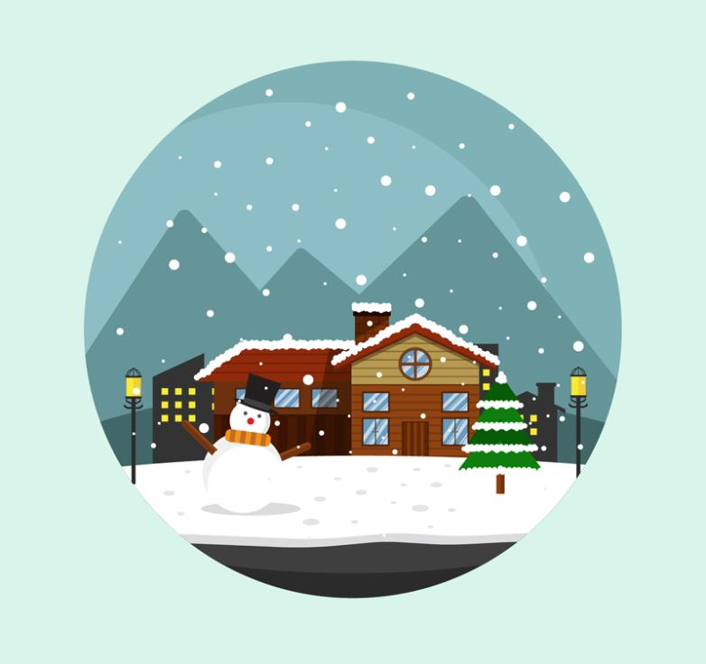 Cartoon Town Illustrations In The Snow Vector