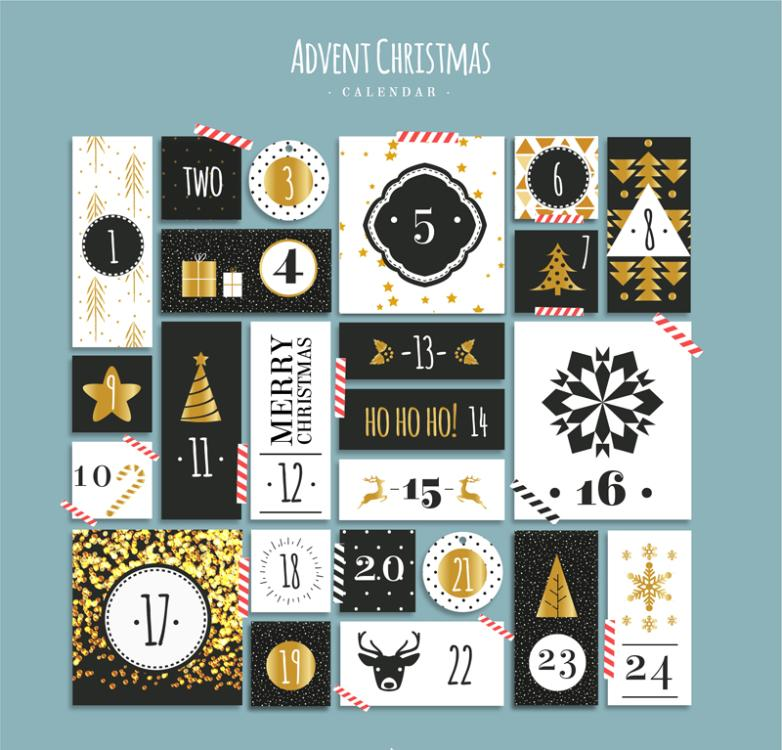 Creative Christmas Month Calendar Cards Vector