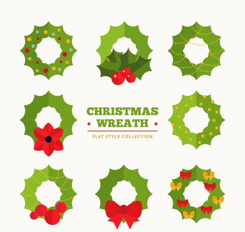 Christmas Wreath Vector.Eight Green Christmas Wreath Vector Free Vector Graphic