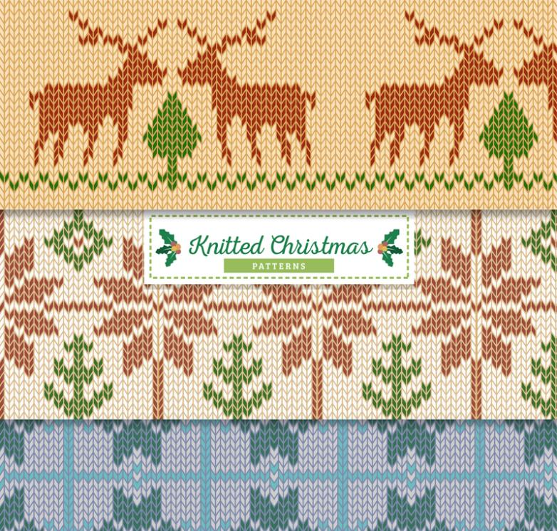 Three Christmas Seamless Knitting Design Background Vector