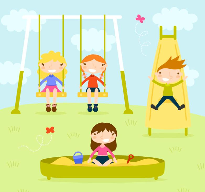 Four Children Play Outdoors Vector