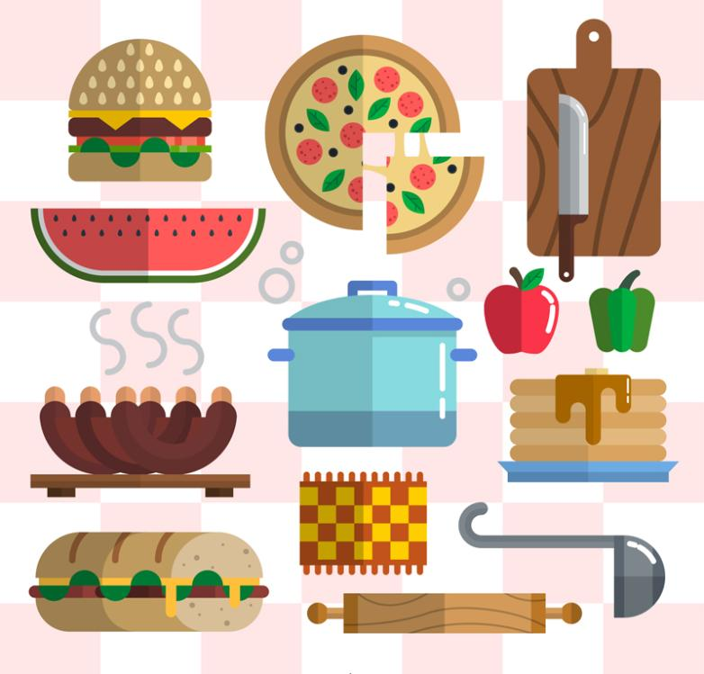 Thirteen Flattening Food And Kitchen Utensils And Appliances Vector