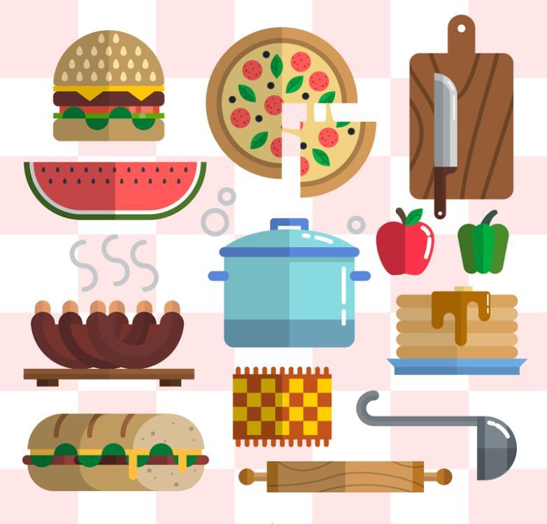 Thirteen Flattening Food And Kitchen Utensils And Appliances Vector