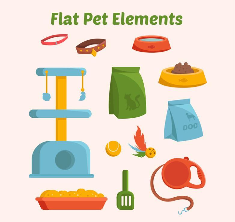 12 Color Flat Pet Products Vector
