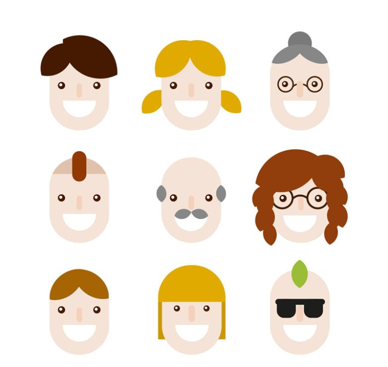 Nine New Cartoon Smiling Face Vector