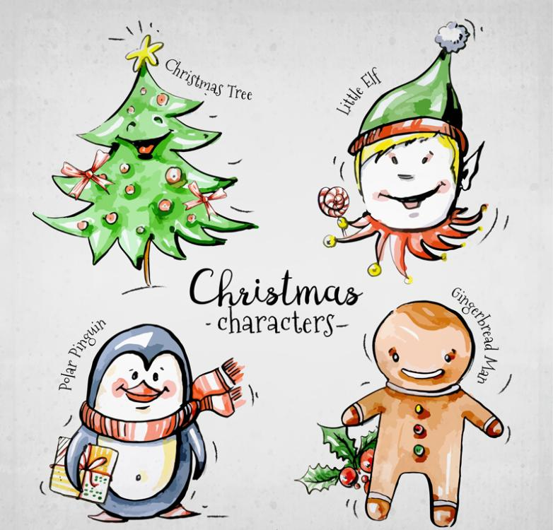 4 Christmas Hand-drawn Cartoons Elements Vector