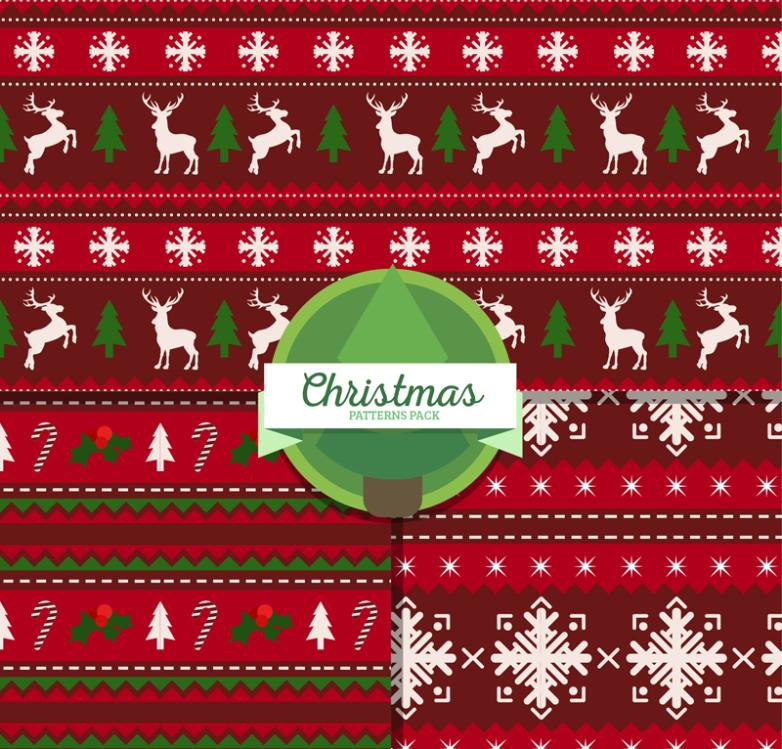 Three Red Christmas Seamless Background Vector