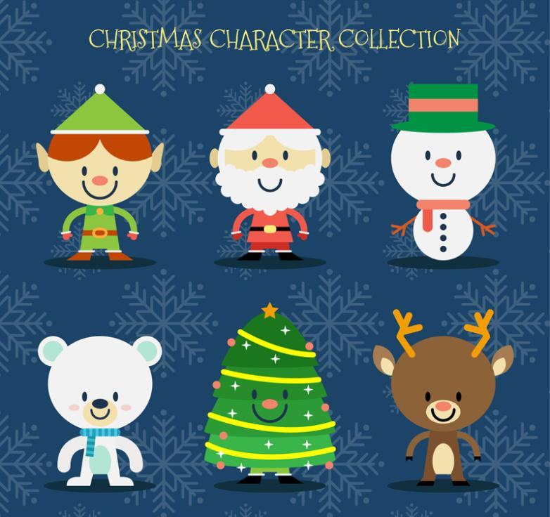 Six Lovely Christmas Roles And The Christmas Tree Vector