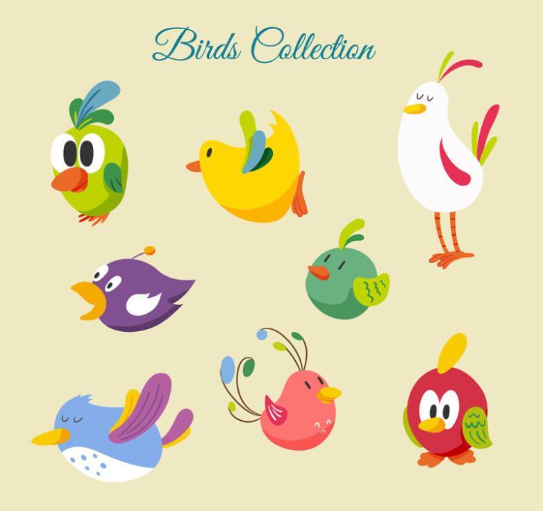 Eight Lovely Cartoon Bird Vector
