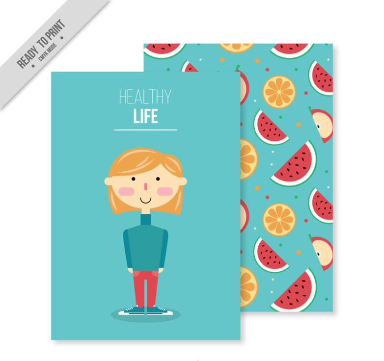Creative Blonde Card A Healthy Life Vector