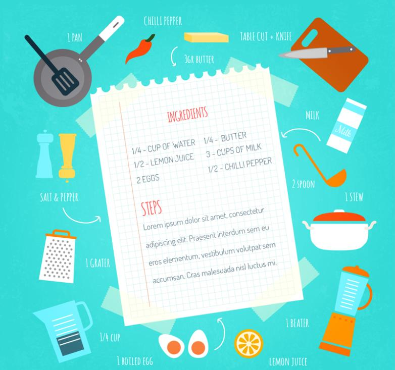 Creative Cooking Menu And Kitchen Design Vector
