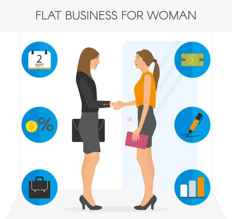 Shake Hands With Business Woman Vector