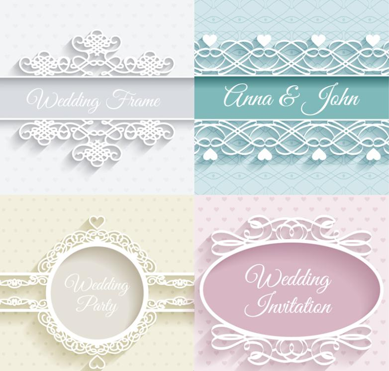 4 Exquisite Decorative Pattern Wedding Invitation Card Vector