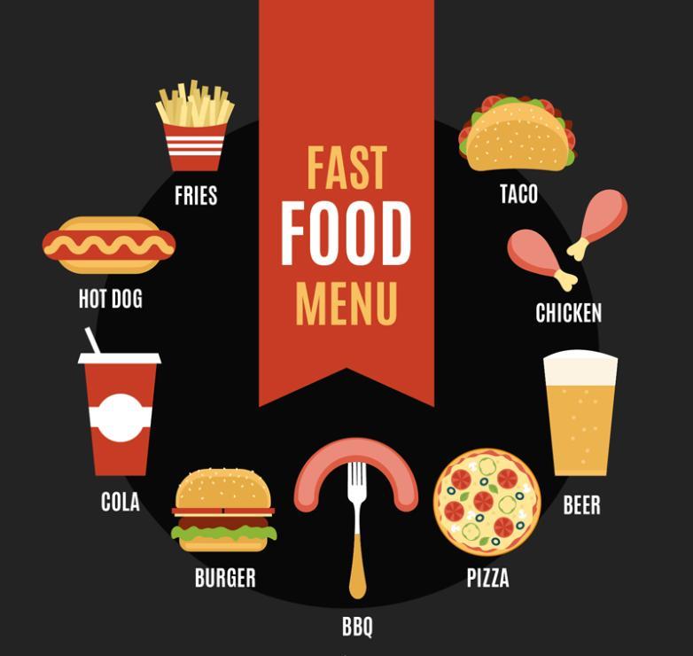 Nine New Delicious Fast Food Design Vector