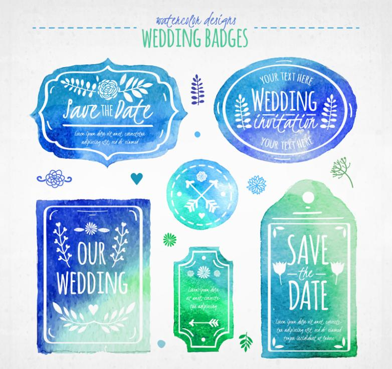 Six Blue-green Watercolor Wedding Labels And Tags Vector