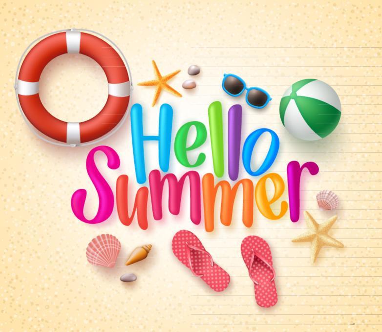 Hello Summer Beach Vacation Elements Vector