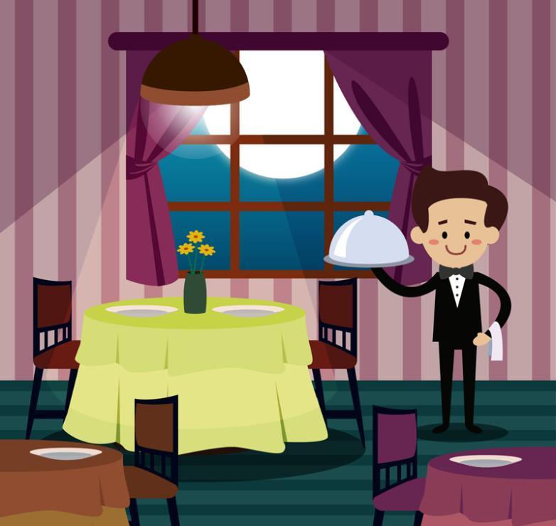 Cartoon Night Restaurant's Interior Vector