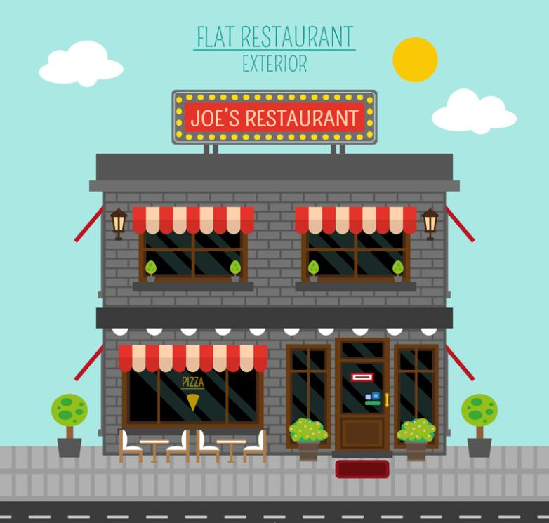 Flat On The Second Floor Restaurant Design Vector