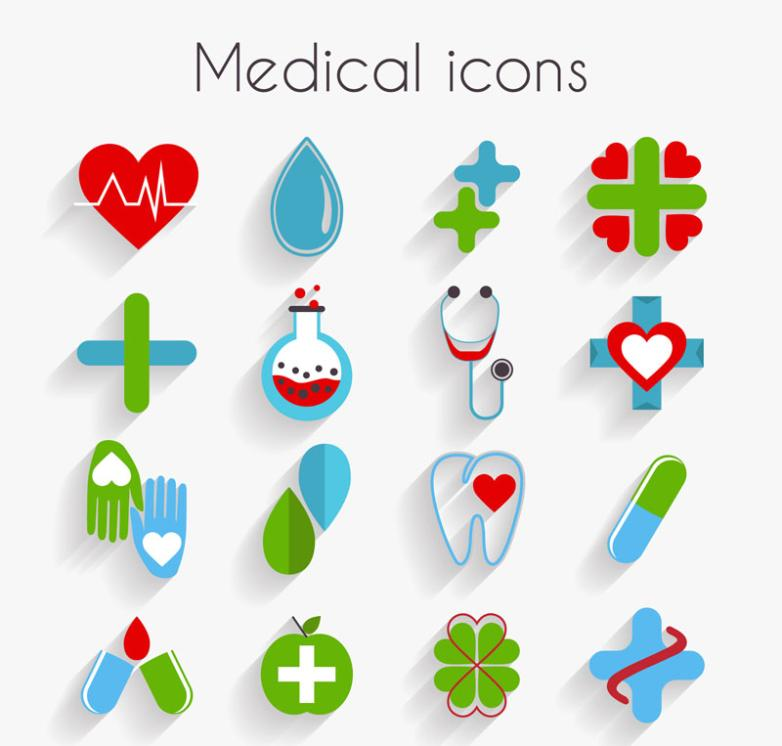 16 Delicate Flat Medical Icon Vector