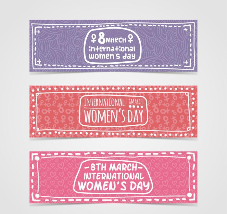Three Fresh Banner International Women's Day Vector