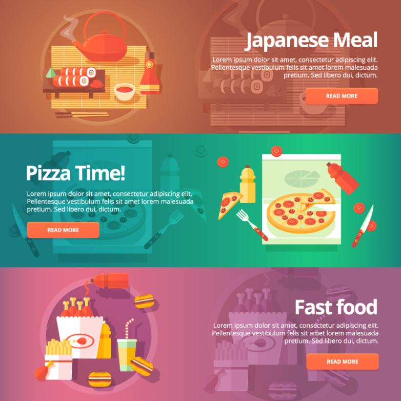 Three Delicious Food Catering Banner Vector