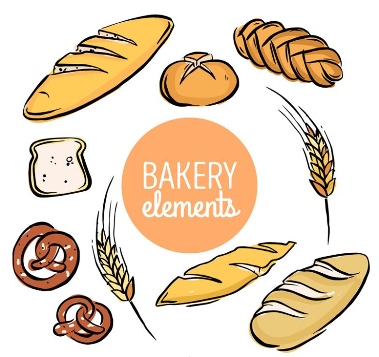Nine New Bread Coloured Drawing Or Pattern Design Vector