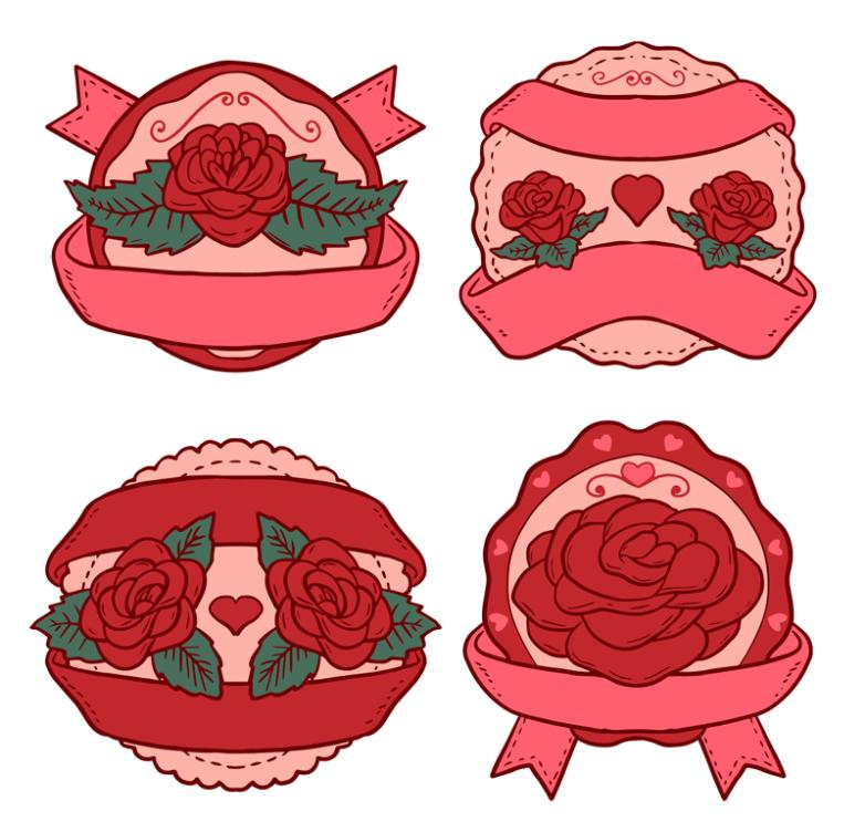 4 Red Roses Label Vector